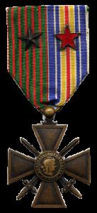 Ruban mixte Croix de Guerre 1914-1918 et médaille des blessés